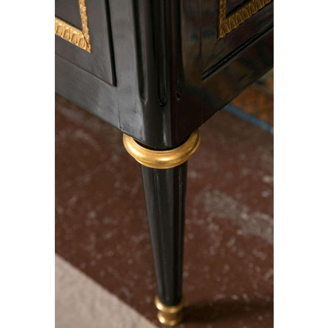 Maison Jansen Marble-Top Ebonized Commode Heavy Bronze Mounts Louis XVI Style For Sale - Image 9 of 11
