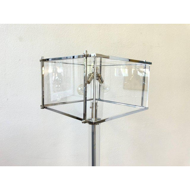 1970s Pair of Polish Nickel and Acrylic Floor Lamps by Charles Hollis Jones For Sale - Image 5 of 9
