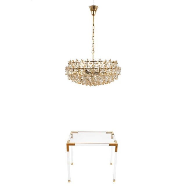 Exceptional Large Gilt Brass and Glass Chandelier Lamp, Palwa circa 1960 For Sale - Image 10 of 11