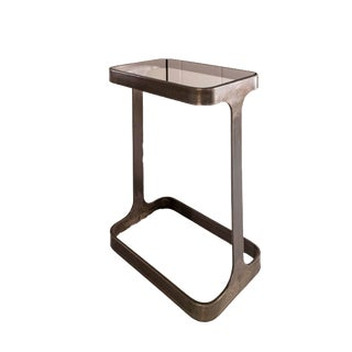 Contemporary Global Views Iron & Glass End Table For Sale