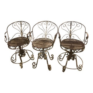 Antique Old World Iron Barstools - Set of 3 For Sale