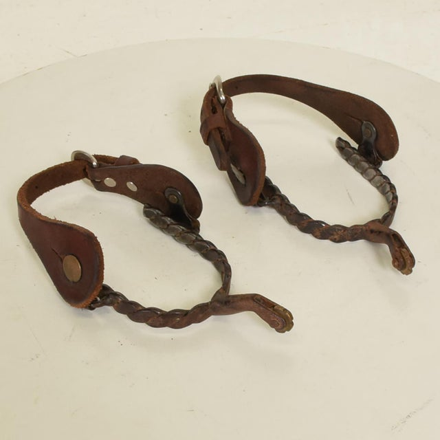 Rustic Antique Forged Iron Western Spurs With Leather & Brass Accent - a Pair For Sale - Image 3 of 11