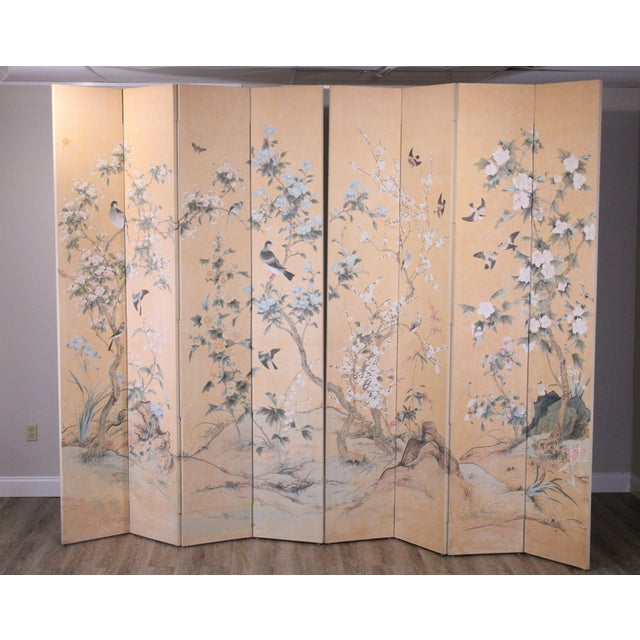 "High Quality Hand Painted Pair of 4 Panel Folding Screens Store Item#: 23853 H: 104"" x W: 68"" x D: 1"" each"