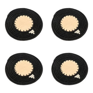 Round Coasters Black - Set of 4 For Sale
