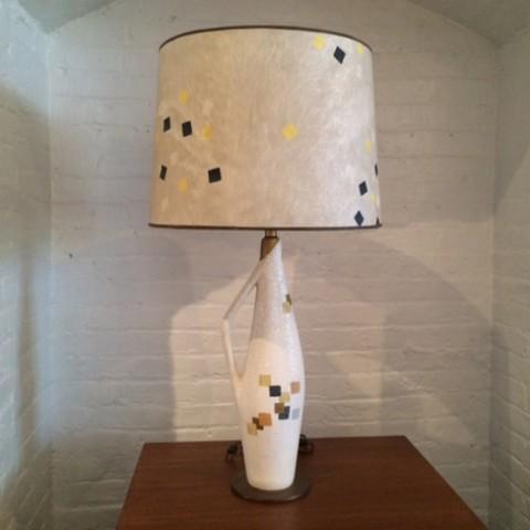 Tye of California ceramic table lamp with original shade. 1955, American.