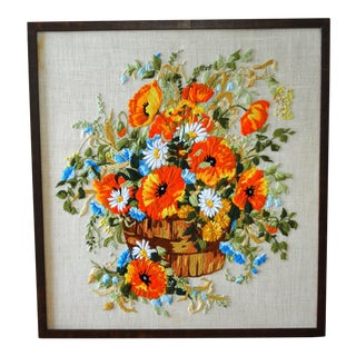 Vintage Mid Century Poppies in a Barrell Crewel Embroidery Textile Art, Framed For Sale