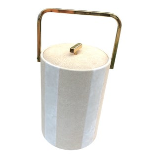 Vintage Georges Briard Pebbled Suede Brass Accent Ice Bucket Large For Sale