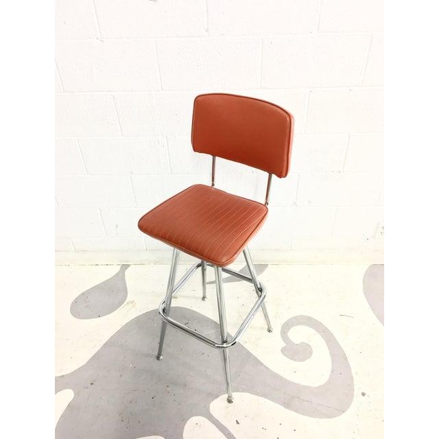 Mid-Century Chrome and Orange Vinyl Barstool - Image 6 of 6
