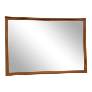 Mid Century Light Walnut Mirror For Sale