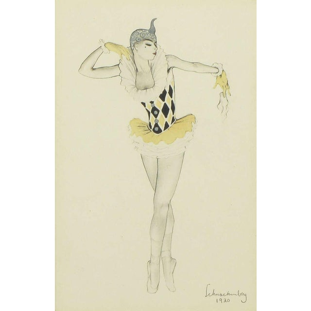 """Paper Set Three Walter Schnackenberg (1880-1961) """"Ballet Und Pantomime"""" Tinted Prints For Sale - Image 7 of 9"""