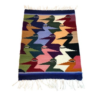 Vintage Mid Century Weaving Table Rug- 1′ × 1′4″ For Sale