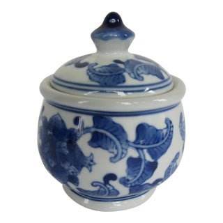 Vintage Blue & White Chinoiserie Lidded Jar For Sale