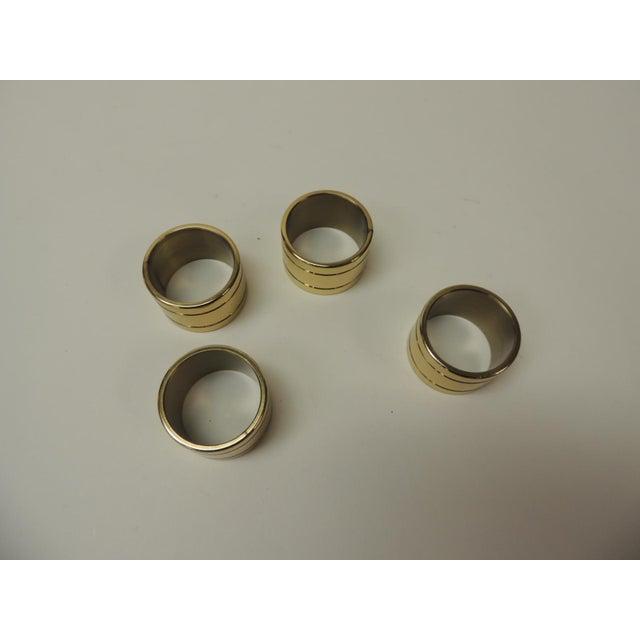 Hollywood Regency Set of 4 Solid Brass Ralph Lauren Ribbon Napkin Holders For Sale - Image 3 of 5