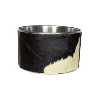 Animal Print Spotted Buffalo Hide and Chrome Drum Shade For Sale