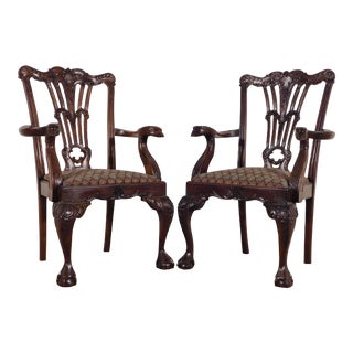 1990s Maitland Smith Carved Mahogany Eagle Heads Armchairs - a Pair For Sale