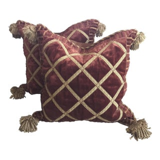 Decorative Copper Velvet Square Pillows With Gold Trim & Tassels - A Pair