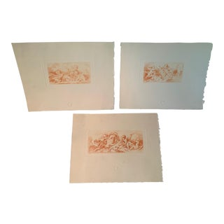 Sepia Engravings by Pequegnot After Boucher- Set of 3 For Sale