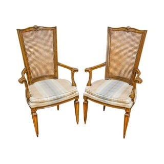 Karges French Louis XVI Style Vintage Pair of Walnut Cane Back Arm Chairs