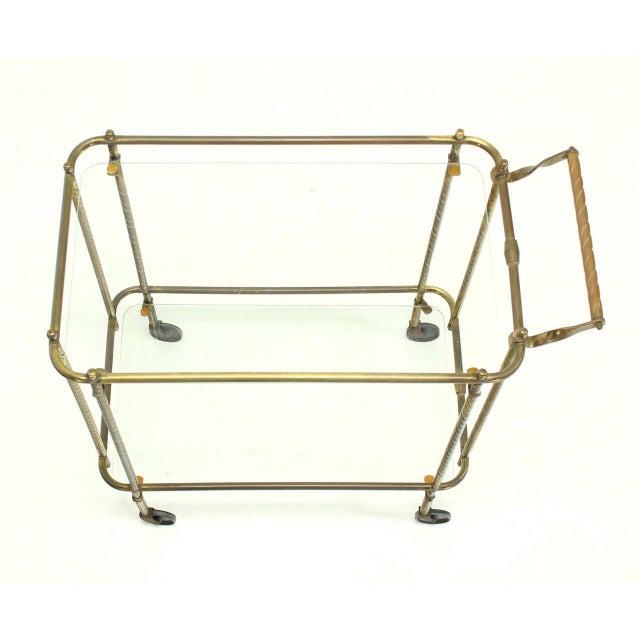 Brass Tube Frame and Glass Rectangular Tea Bar Cart For Sale - Image 4 of 8