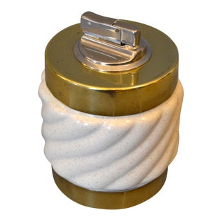 Mid-Century Modern Tommaso Barbi Beige Ceramic & Brass Lighter Italy, Signed For Sale