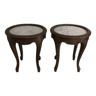 19th Century Italian Carved Wood and Marble Side Tables - a Pair For Sale