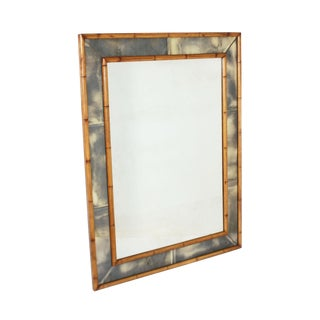 Faux Bamboo Mirror With Smokey Mirrored Frame, C. 1970 For Sale