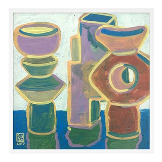 Building Blocks by Jelly Chen in White Framed Paper, Medium Art Print For Sale