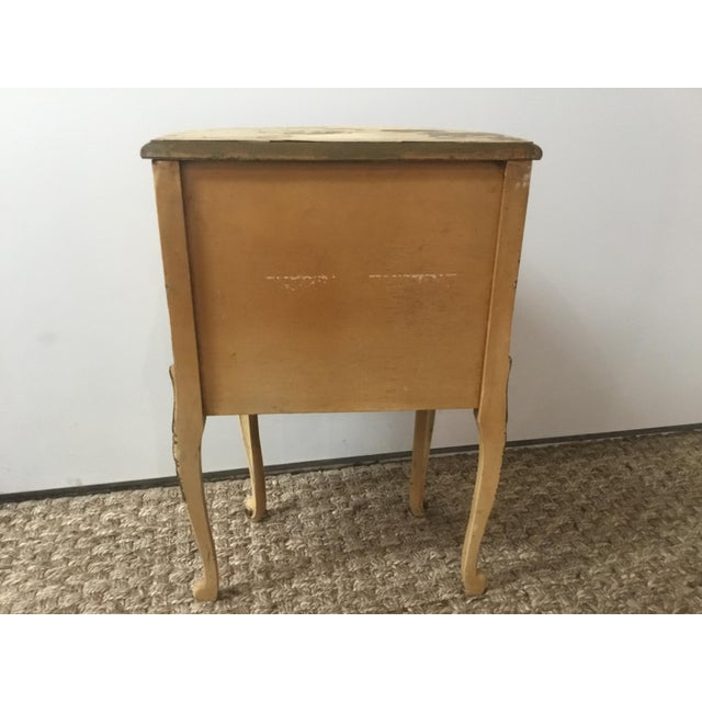 French Style Night Stand With Hand Painted Flowers For Sale In Los Angeles - Image 6 of 11