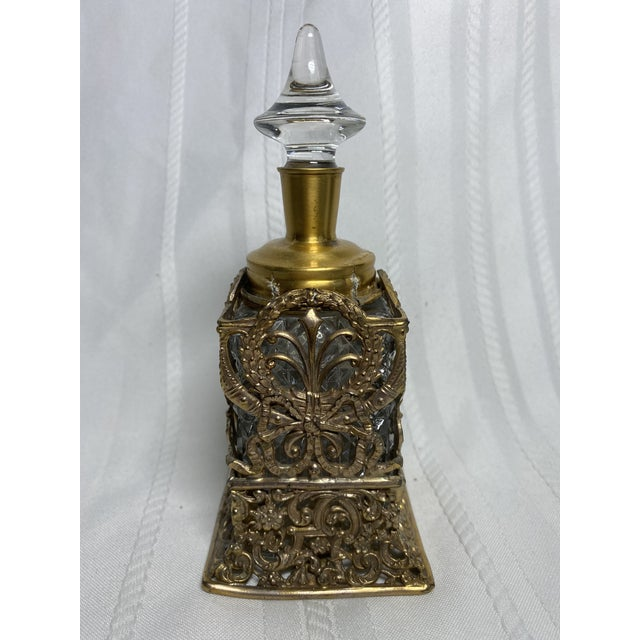 1930s Vintage Art Nouveau Goldtone & Crystal Apollo Perfume Bottle For Sale - Image 4 of 9