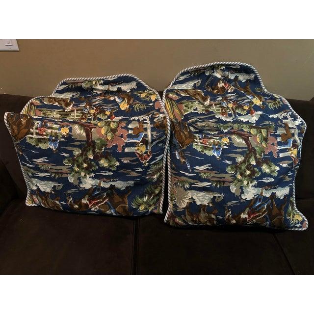 Bloomcraft Cowboy Western Barkcloth Custom Pillowcases - A Pair For Sale - Image 4 of 5