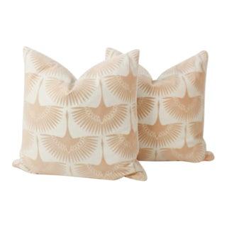 Blush Velvet, Cotton and Silk Flock Pillows, a Pair For Sale