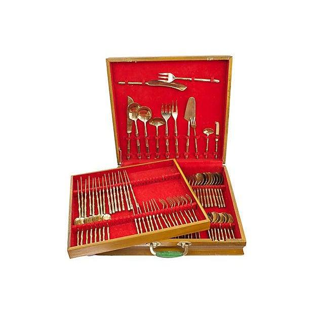Hollywood Regency Bronze Bamboo Flatware, 100 Pcs. For Sale - Image 3 of 5