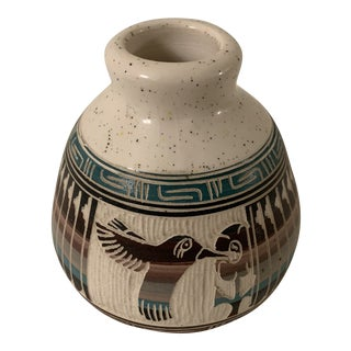 Vintage Navajo Signed Terra Cotta Pottery Vase With Bird For Sale