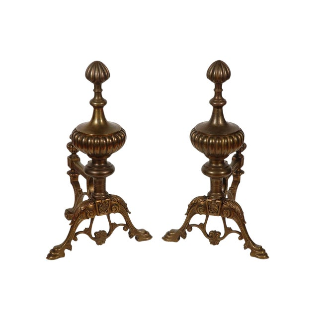Cast Brass Andirons - a Pair For Sale