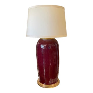 Antique Chinese Oxblood Pottery Designer Lamp For Sale