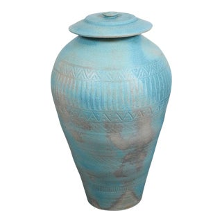 1980s Lidded Amphora Style Ceramic Vessel, Custom for Steve Chase For Sale