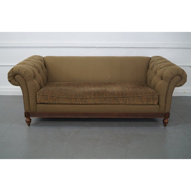 Ethan Allen British Classics Long Tufted Sofa For Sale - Image 5 of 10