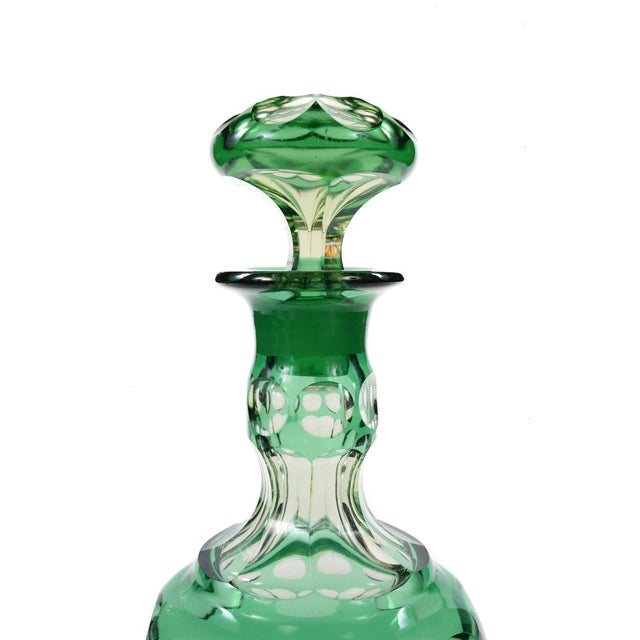 Bohemian Green Glass Decanters - A Pair - Image 6 of 8