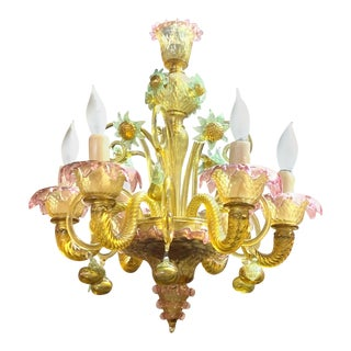 Petite Murano Glass Chandelier For Sale