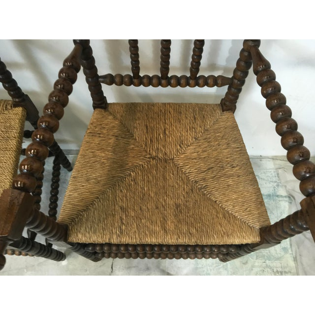 Pair of Antique French Oak Spool Chairs For Sale - Image 4 of 8