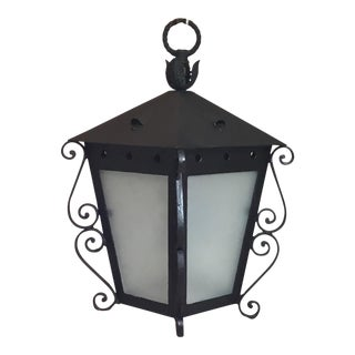 Mizner Style Vintage Black Hanging Lantern For Sale