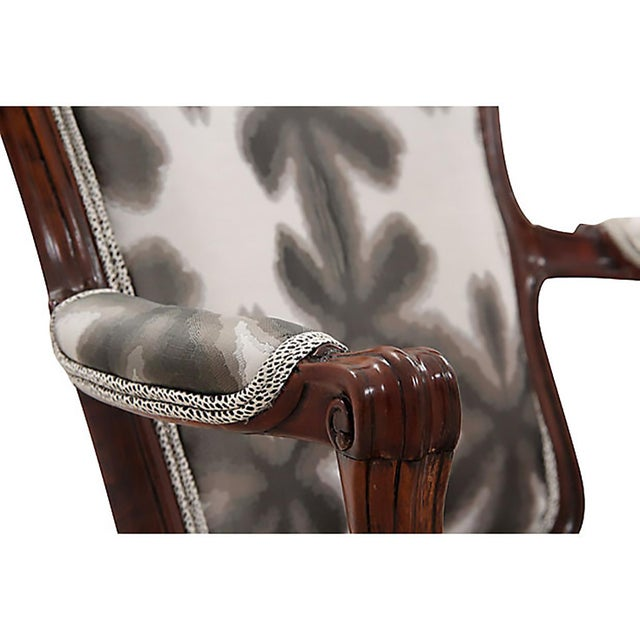 Fabric Scalamandre & Kravet Upholstered Louis XV Style Fauteuils, a Pair For Sale - Image 7 of 8