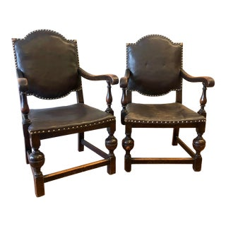 Mid 19th Century English Oak and Leather Carver Armchairs - a Pair For Sale