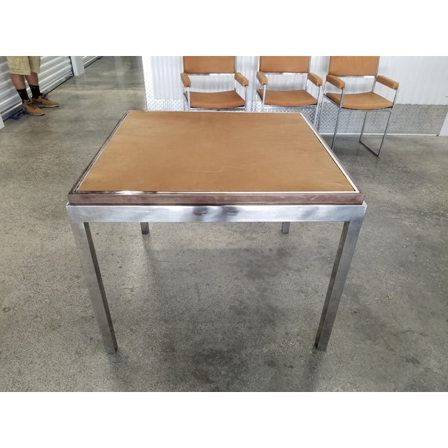Metal 1970's Signed Willy Rizzo Gaming Table & Chairs For Sale - Image 7 of 13