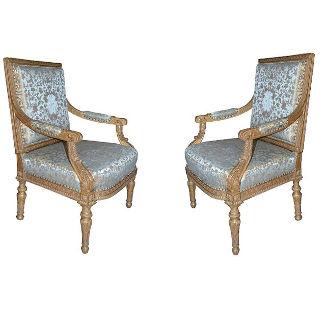 19th Century 19th C. French Giltwood Armchairs For Sale - Image 5 of 5