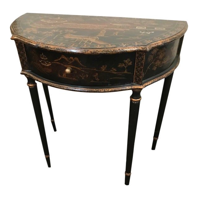 Chinoiserie Demi Lune Table With Drawer For Sale