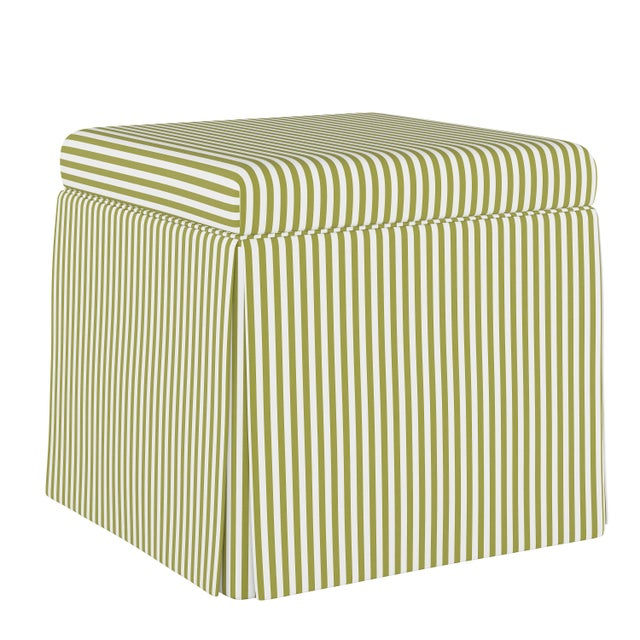 Spritely Home Skirted Storage Ottoman in Candy Stripe Olive Oga For Sale - Image 4 of 5