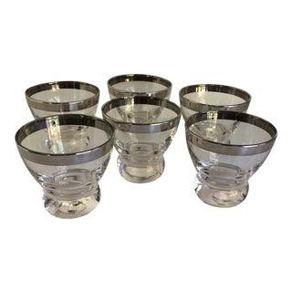 Mid-Century Modern Platinum Rim Cocktail Glasses - Set of 6