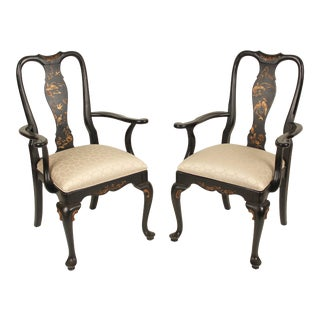 Queen Anne Style Chinoiserie Decorated Armchairs - a Pair For Sale