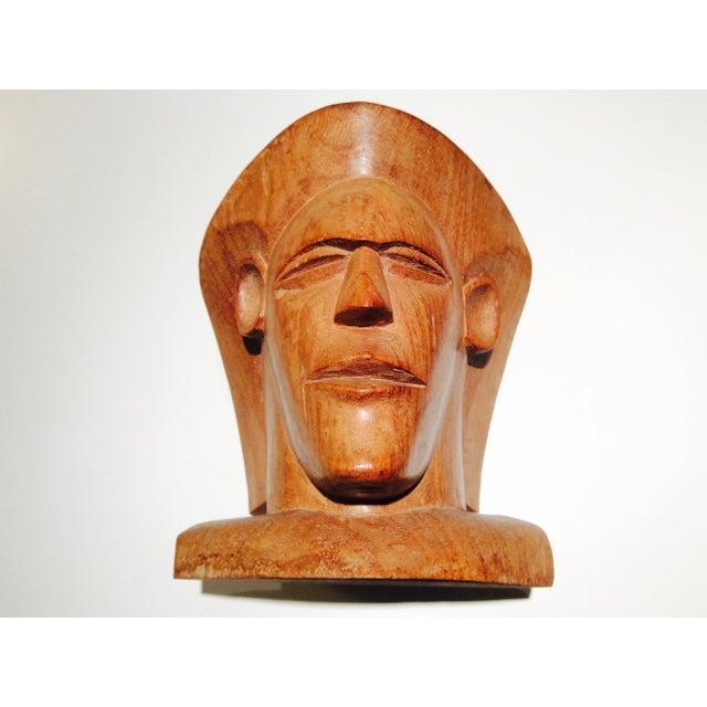 Vintage Fiji Vesi Wood Sculpted Bust For Sale - Image 4 of 9